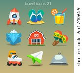 funny travel icons set 21 | Shutterstock .eps vector #651740659