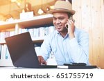 phone to colleague. confident... | Shutterstock . vector #651755719