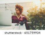 pensive curly african american... | Shutterstock . vector #651759934