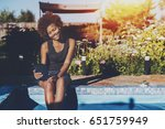 cheerful lovely young black... | Shutterstock . vector #651759949