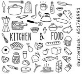 hand drawn kitchen and food... | Shutterstock .eps vector #651768991