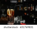 cocktail brandy with cola | Shutterstock . vector #651769831