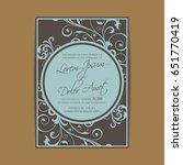 beautiful wedding invitation... | Shutterstock .eps vector #651770419