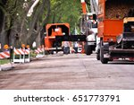 service trucks and workers in... | Shutterstock . vector #651773791