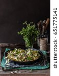 Small photo of Fettuccine Alfredo with Zucchini, Bacon, Marjoram and Mint, copy space for your text