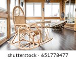 Chair At The Balcony. Rattan...