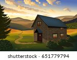 Vector Landscape With House ...