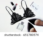 Stock photo top view fashion black lace lingerie set of woman essential accessory and underwear on flat lay 651780574