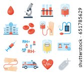 blood donor icon set  products... | Shutterstock .eps vector #651785629