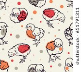 seamless pattern with little... | Shutterstock .eps vector #651791311