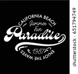 paradise summer print on black... | Shutterstock .eps vector #651794749