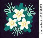 plumeria flower with leaves on...   Shutterstock .eps vector #651798421