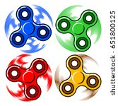 set of colorful fidget spinners ... | Shutterstock .eps vector #651800125