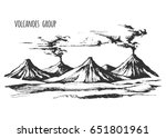 volcanoes group landscape... | Shutterstock .eps vector #651801961