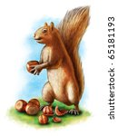 A Cute Brown Squirrel Holding...