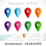 map pointer  colorful pins... | Shutterstock .eps vector #651816985