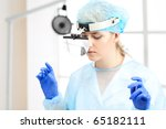 woman doctor with blond hair in ... | Shutterstock . vector #65182111