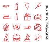 birthday icons set. set of 16... | Shutterstock .eps vector #651825781