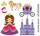 little cute vector princess ... | Shutterstock .eps vector #651826681