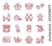 family icons set. set of 16... | Shutterstock .eps vector #651828079