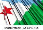 fragment flag of djibouti. 3d...   Shutterstock . vector #651843715