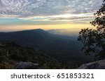 silhouette view at the hiker in ... | Shutterstock . vector #651853321
