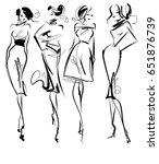 set vector  fashion stylish... | Shutterstock .eps vector #651876739