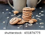 chocolate chip cookies with... | Shutterstock . vector #651876775