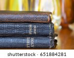 holy bibles stacked with... | Shutterstock . vector #651884281