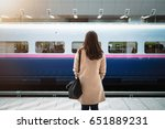 woman waiting for train in...   Shutterstock . vector #651889231