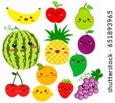 cute cartoon fruits vector... | Shutterstock .eps vector #651893965