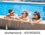 party at smimming pool. group... | Shutterstock . vector #651903031