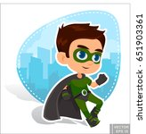 vector   superhero kid boy... | Shutterstock .eps vector #651903361
