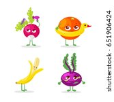set of vegetables and fruits...   Shutterstock .eps vector #651906424