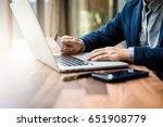 handsome businessman in suit...   Shutterstock . vector #651908779