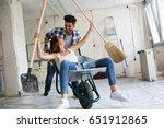 loving couple is having fun...   Shutterstock . vector #651912865