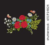 embroidery. bouquet with roses...   Shutterstock .eps vector #651914824