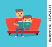 father reads a book to his son. ... | Shutterstock .eps vector #651928165