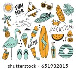 vintage summer theme doodle set ... | Shutterstock .eps vector #651932815
