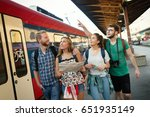 group of friends traveling by... | Shutterstock . vector #651935149