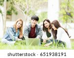 group of student sitting to... | Shutterstock . vector #651938191