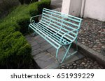 blue iron bench at portmerion | Shutterstock . vector #651939229