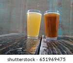 two beer pints on display on a...   Shutterstock . vector #651969475