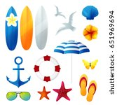 beach holiday design elements.... | Shutterstock . vector #651969694