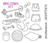 home fitness kit vector... | Shutterstock .eps vector #651977671