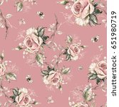 seamless rose pattern and... | Shutterstock . vector #651980719