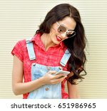 beautiful smiling woman with... | Shutterstock . vector #651986965