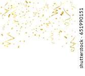 gold confetti and ribbon... | Shutterstock .eps vector #651990151