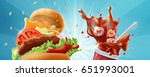 burger and soda   fast food... | Shutterstock . vector #651993001