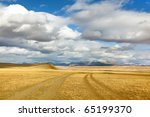 mongol's road to mountain . indian-summer - stock photo